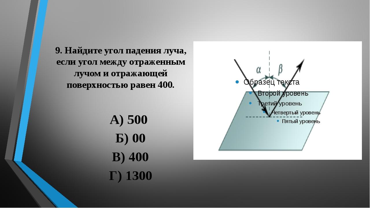 9. Найдите угол падения луча, если угол между отраженным лучом и отражающей п...