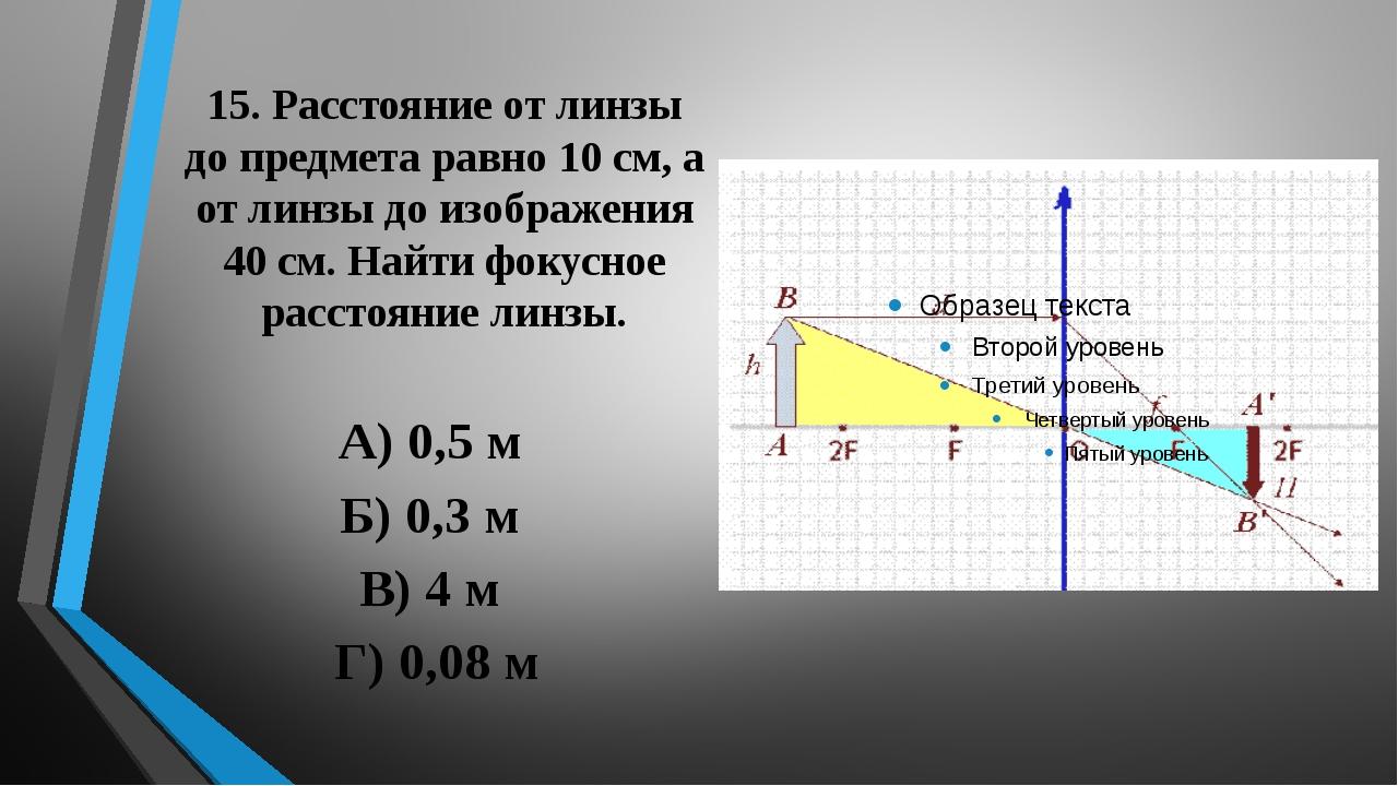 15. Расстояние от линзы до предмета равно 10 см, а от линзы до изображения 40...