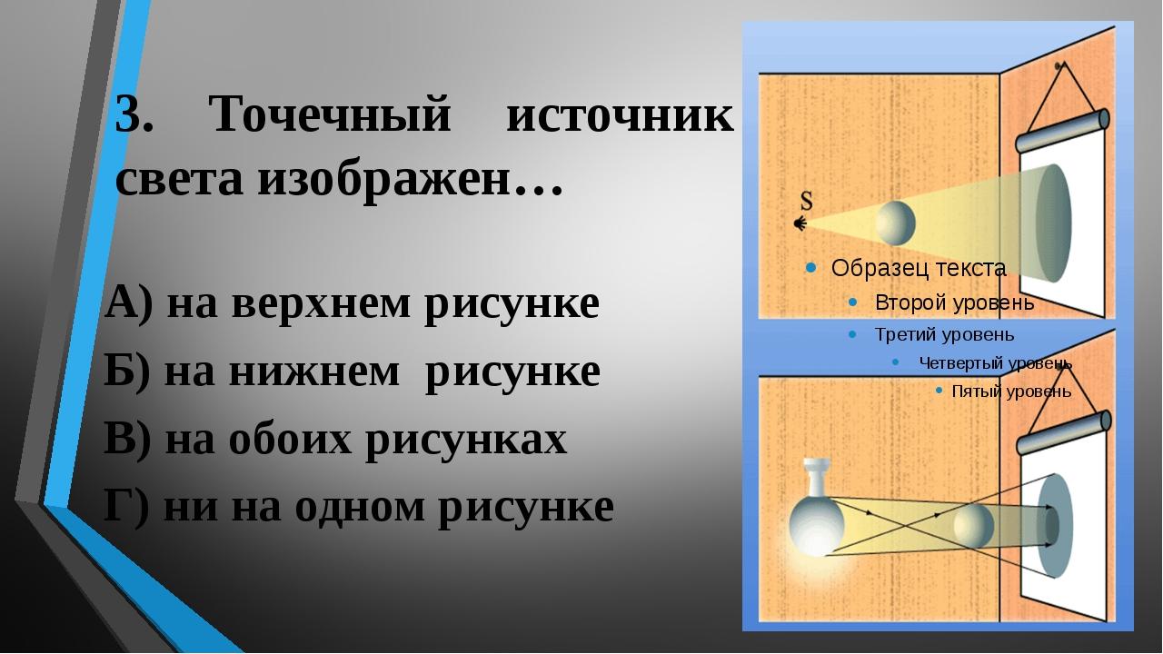 3. Точечный источник света изображен… А) на верхнем рисунке Б) на нижнем рису...