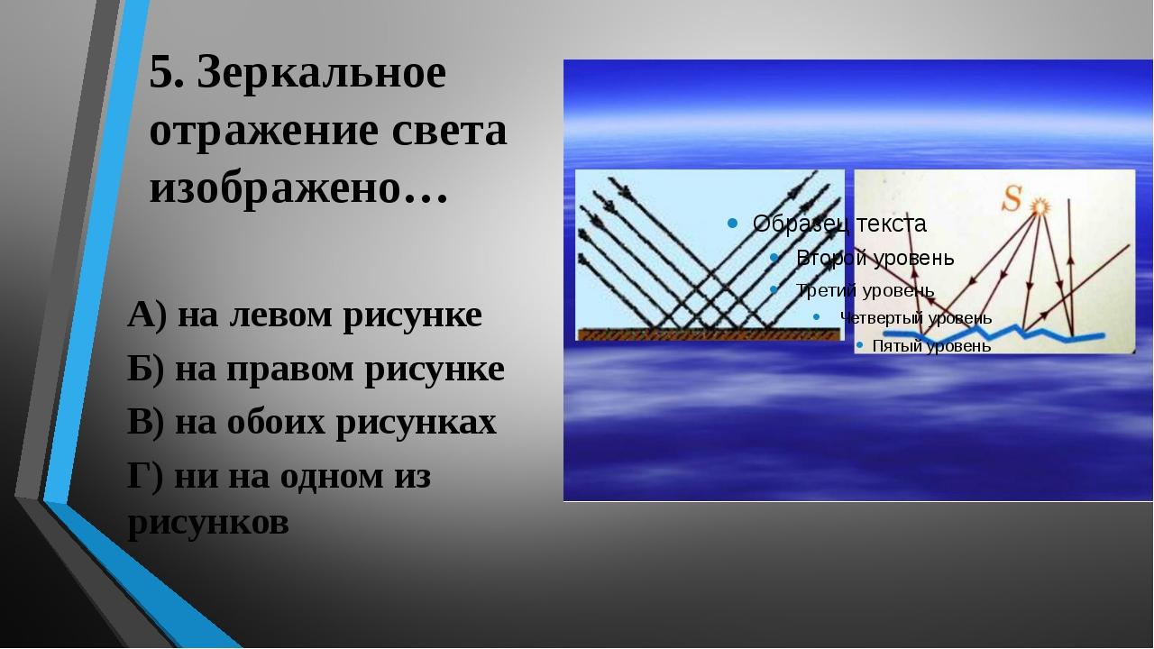5. Зеркальное отражение света изображено… А) на левом рисунке Б) на правом ри...