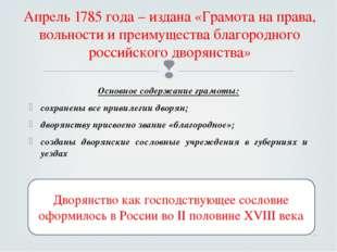 Апрель 1785 года – издана «Грамота на права, вольности и преимущества благоро
