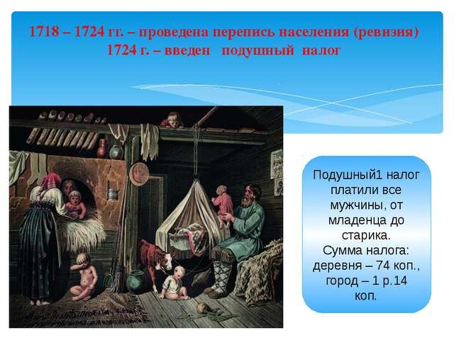 1718 – 1724 гг. – проведена перепись населения (ревизия) 1724 г. – введен под...