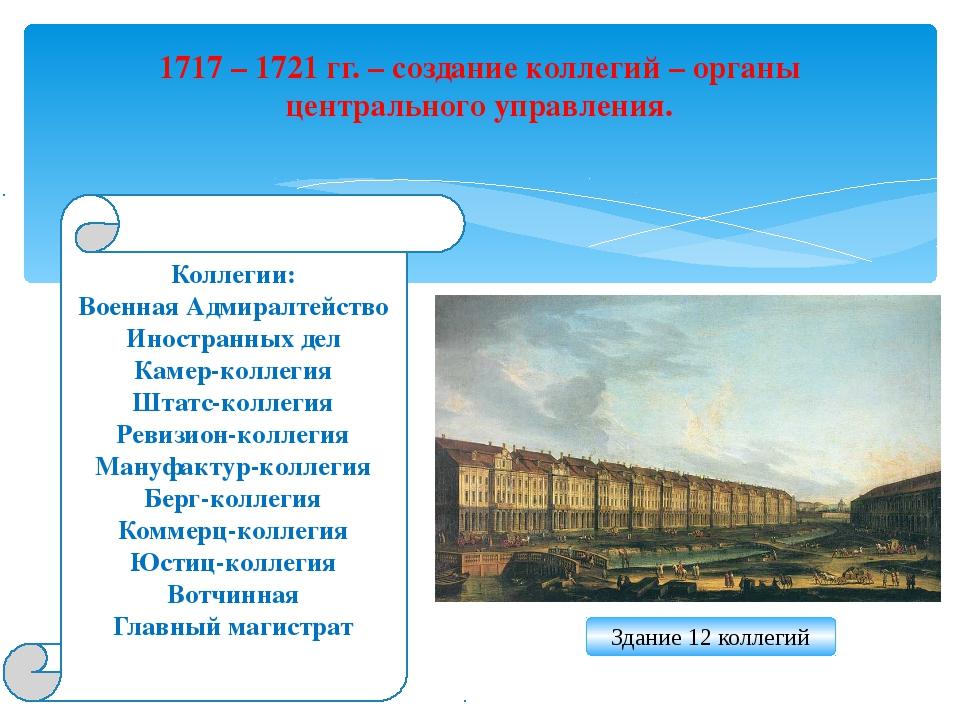 1717 – 1721 гг. – создание коллегий – органы центрального управления. Коллеги...