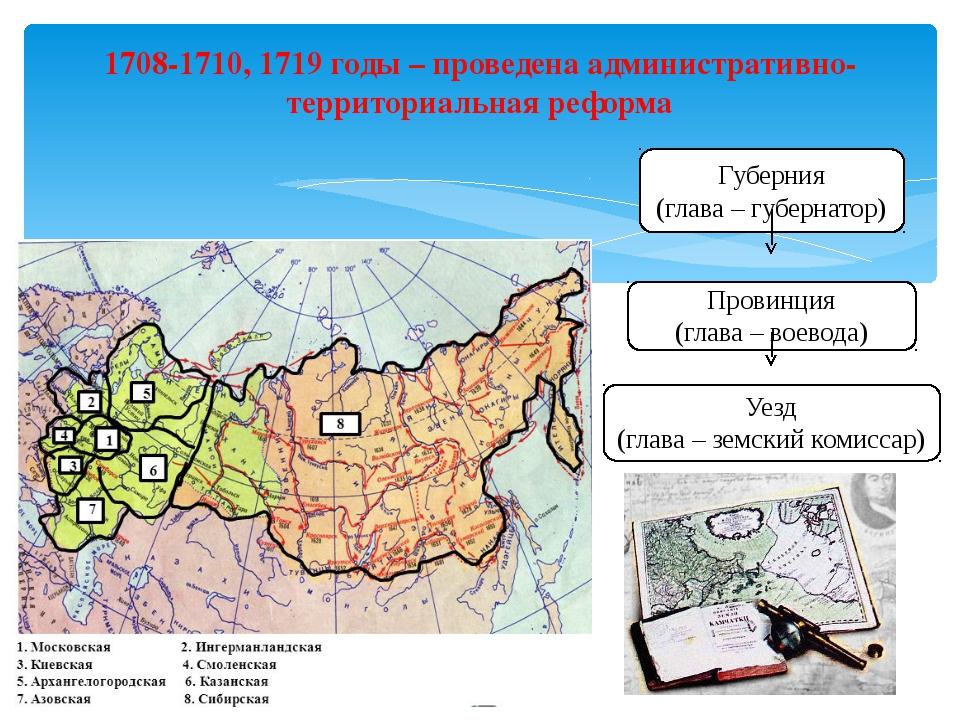 1708-1710, 1719 годы – проведена административно-территориальная реформа Губе...