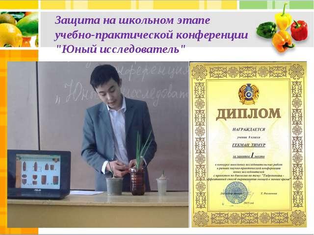 """Защита на школьном этапе учебно-практической конференции """"Юный исследователь"""""""