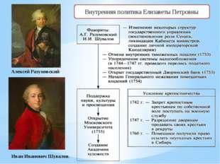 Внутренняя политика Елизаветы Петровны Алексей Разумовский Иван Иванович Шув
