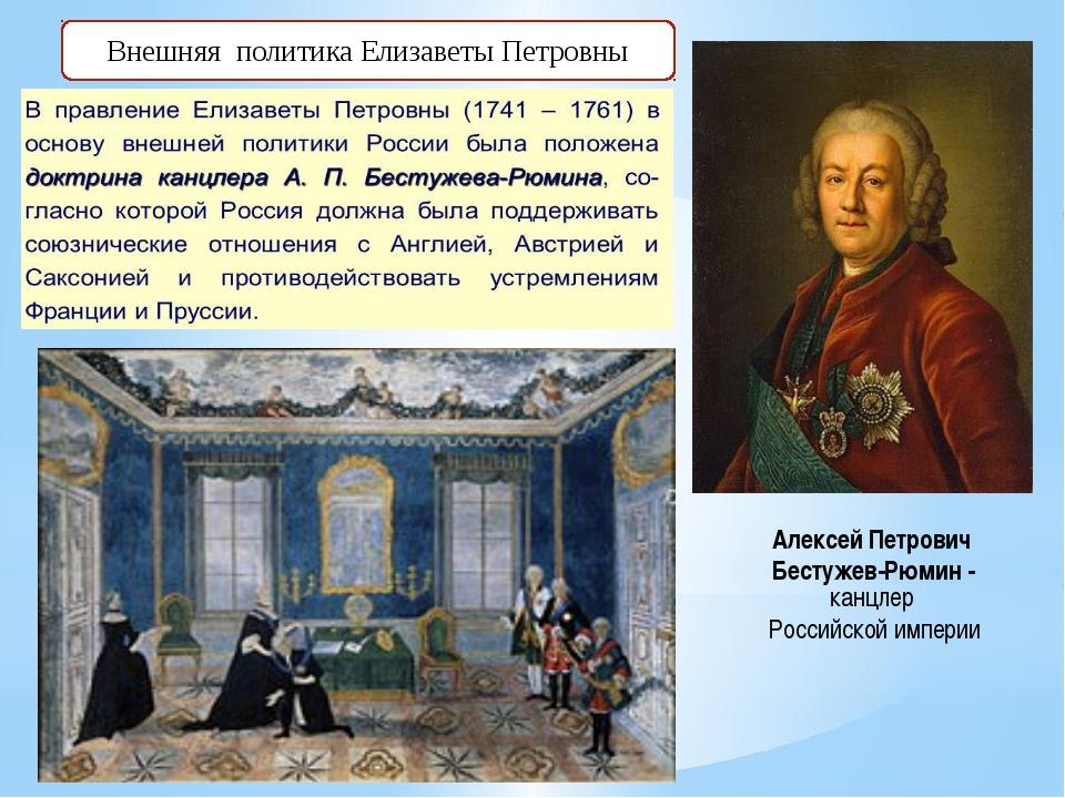 Внешняя политика Елизаветы Петровны Алексей Петрович Бестужев-Рюмин - канцлер...