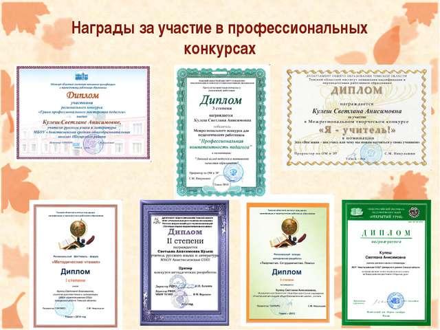 Награды за участие в профессиональных конкурсах