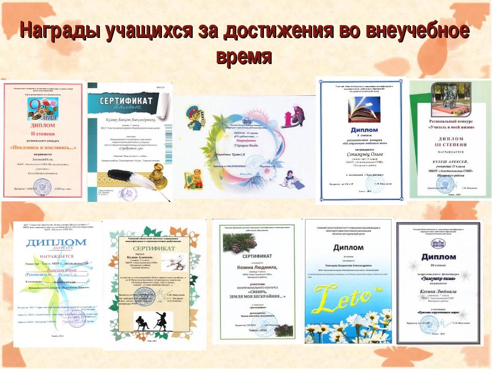 Награды учащихся за достижения во внеучебное время