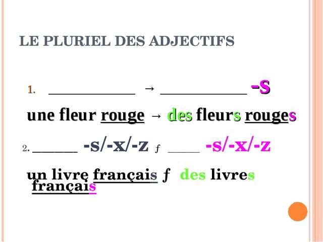 LE PLURIEL DES ADJECTIFS 2. __________ -s/-x/-z → _______ -s/-x/-z un livre f...