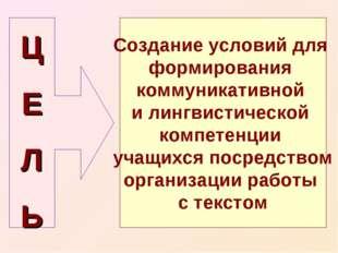Ц Е Л Ь Создание условий для формирования коммуникативной и лингвистической к