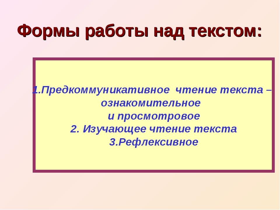 Формы работы над текстом: 1.Предкоммуникативное чтение текста – ознакомительн...