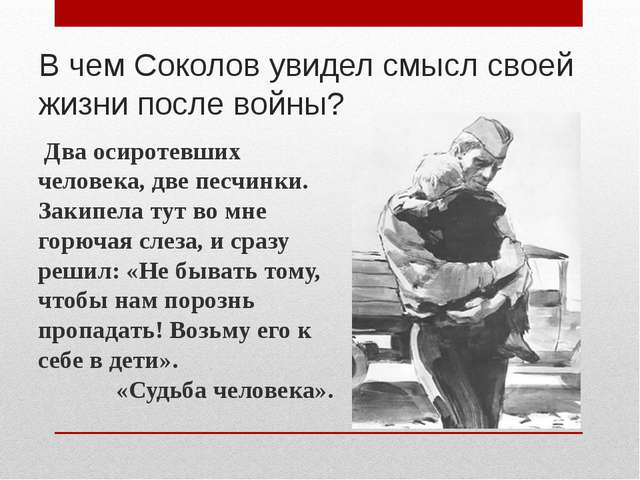 В чем Соколов увидел смысл своей жизни после войны? Два осиротевших человека,...