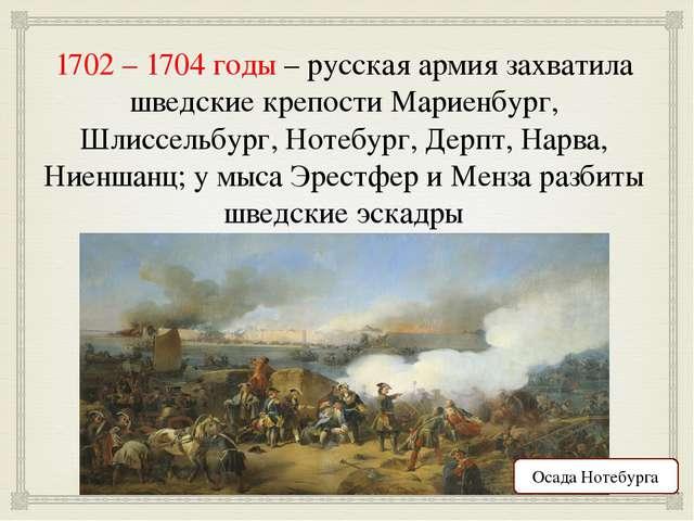 1702 – 1704 годы – русская армия захватила шведские крепости Мариенбург, Шлис...