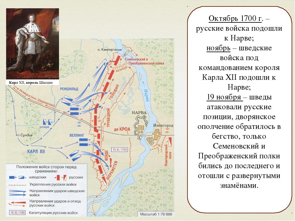 Октябрь 1700 г. – русские войска подошли к Нарве; ноябрь – шведские войска по...