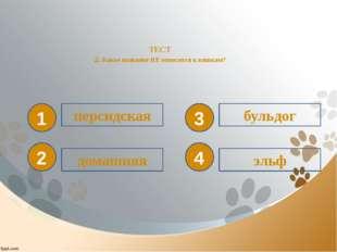 ТЕСТ 2. Какое название НЕ относится к кошкам? 1 2 3 4 персидская домашняя эл