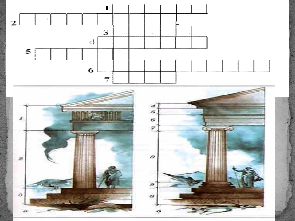 1. Capital of a Ionic column. 2. A beam which is based upon a column of capit...