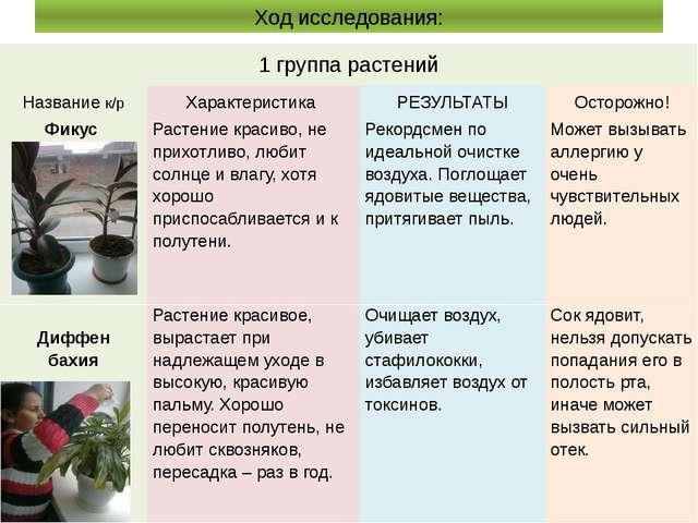 Ход исследования: 1 группа растений Названиек/р Характеристика РЕЗУЛЬТАТЫ Ост...