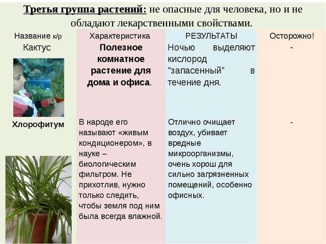Третья группа растений:не опасные для человека, но и не обладают лекарственны...