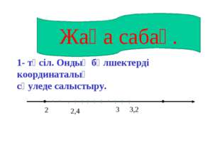 . . 2 3,2 1- тәсіл. Ондық бөлшектерді координаталық сәуледе салыстыру. Жаңа с