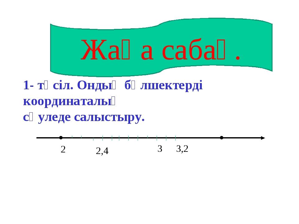 . . 2 3,2 1- тәсіл. Ондық бөлшектерді координаталық сәуледе салыстыру. Жаңа с...