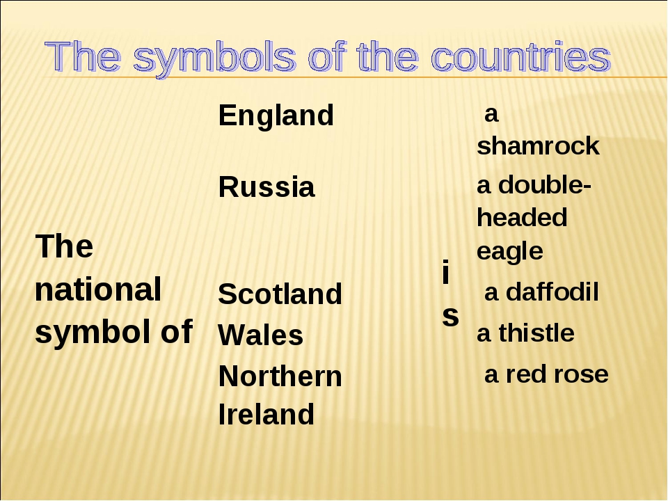 The national symbol ofEngland is a shamrock Russiaa double-headed eagle...