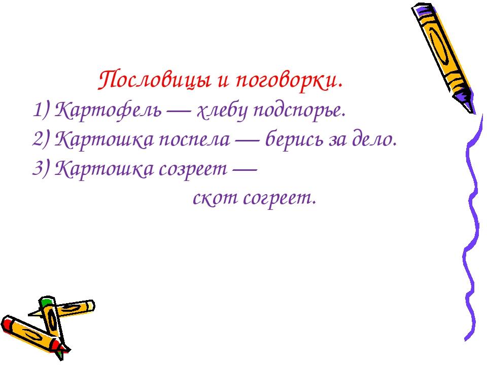 Пословицы и поговорки. 1) Картофель — хлебу подспорье. 2) Картошка поспела —...