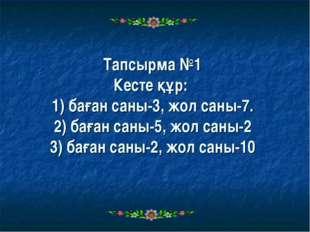 Тапсырма №1 Кесте құр: 1) баған саны-3, жол саны-7. 2) баған саны-5, жол саны