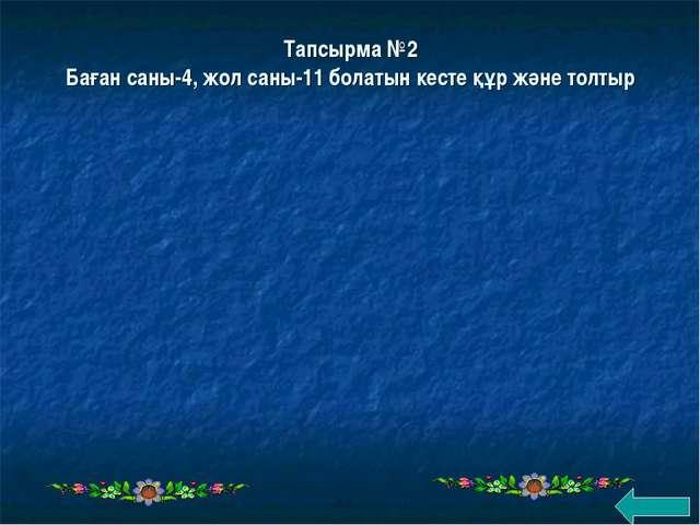 Тапсырма №2 Баған саны-4, жол саны-11 болатын кесте құр және толтыр