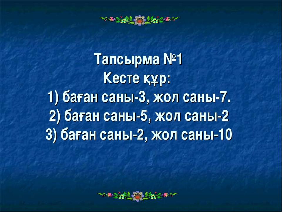 Тапсырма №1 Кесте құр: 1) баған саны-3, жол саны-7. 2) баған саны-5, жол саны...