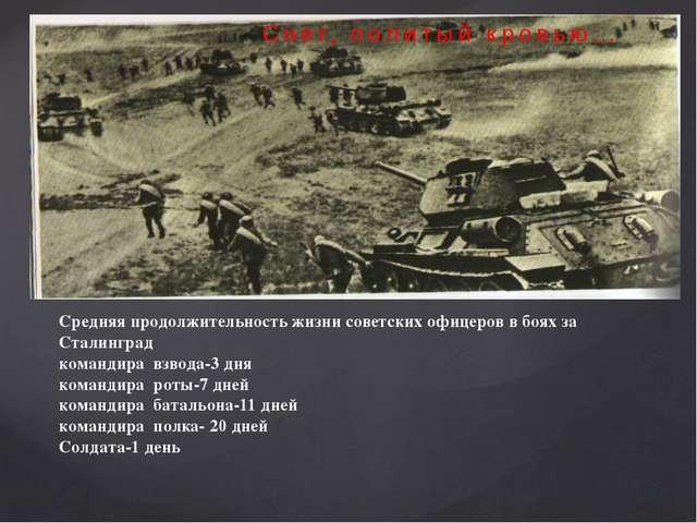 Снег, политый кровью… Средняя продолжительность жизни советских офицеров в б...