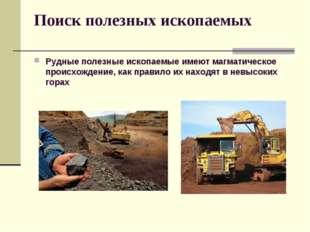 Поиск полезных ископаемых Рудные полезные ископаемые имеют магматическое прои