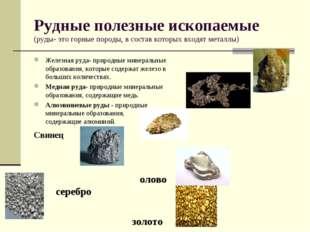 Рудные полезные ископаемые (руды- это горные породы, в состав которых входят