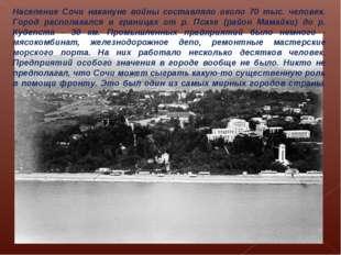 Население Сочи накануне войны составляло около 70 тыс. человек. Город распола