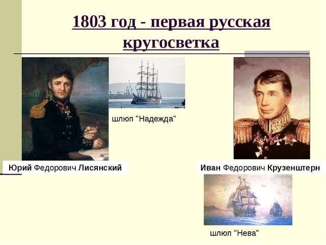 1803 год - первая русская кругосветка Юрий ФедоровичЛисянский ИванФедорови...