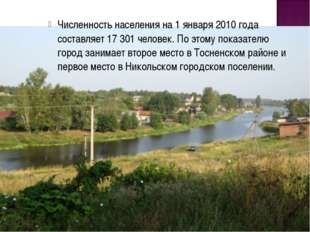 Численность населения на 1 января 2010 года составляет 17 301 человек. По это