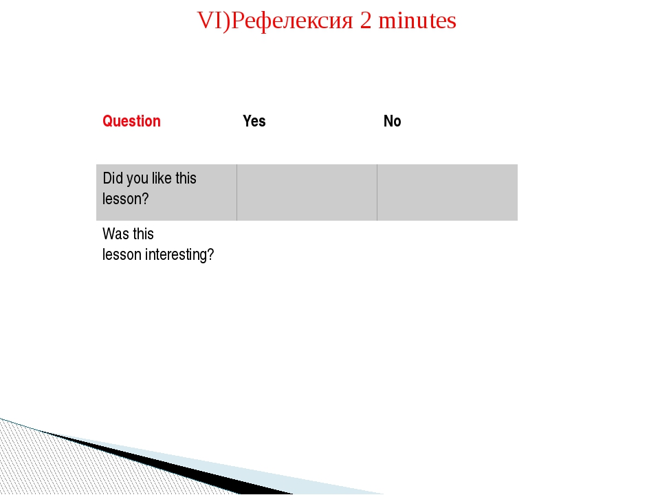 VI)Pефелексия 2 minutes 	 	 Question Yes No Did you like this lesson? Was thi...