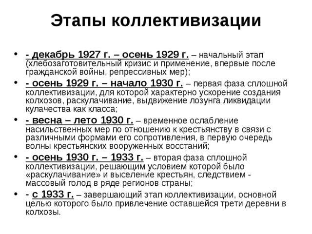 Этапы коллективизации - декабрь 1927 г. – осень 1929 г. – начальный этап (хле...