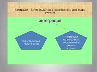 Интеграция – синтез, объединение на основе каких-либо общих признаков. интег