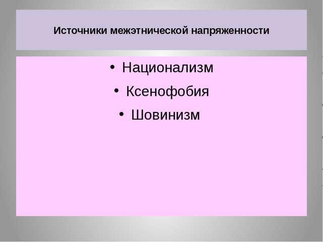 Источники межэтнической напряженности Национализм Ксенофобия Шовинизм