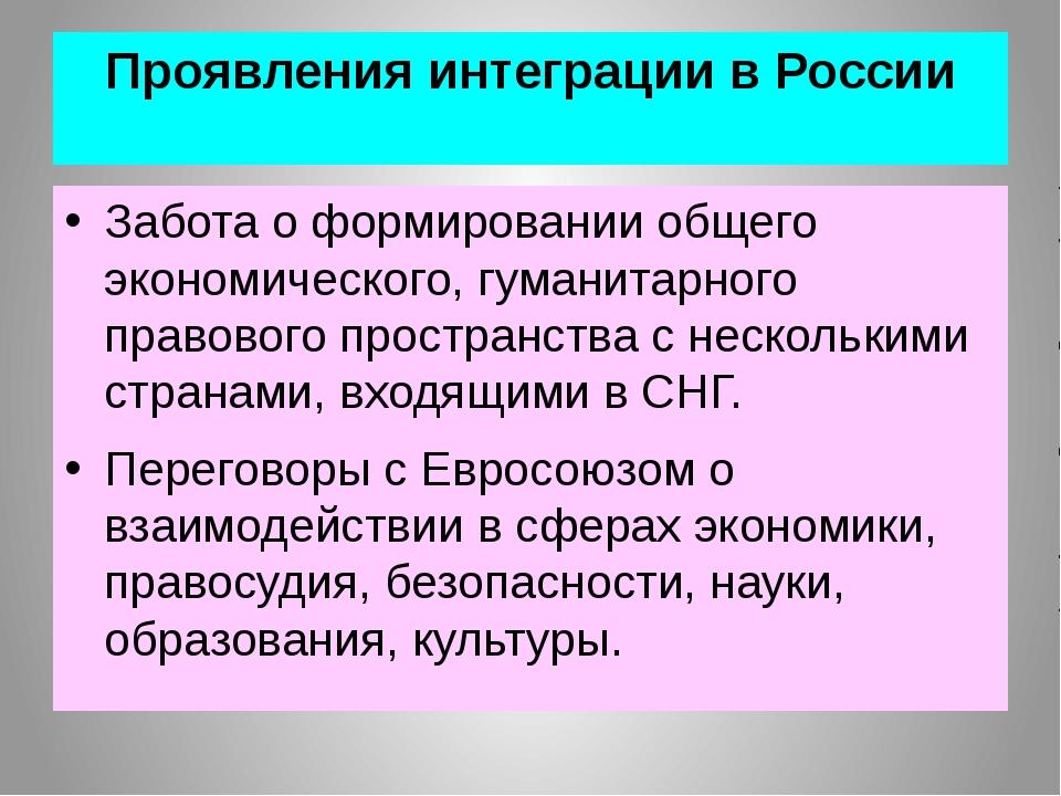 Проявления интеграции в России Забота о формировании общего экономического, г...