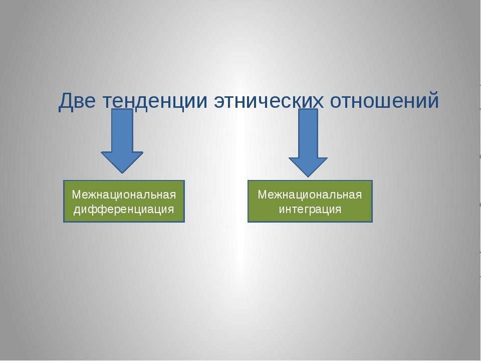 Две тенденции этнических отношений Межнациональная дифференциация Межнациона...