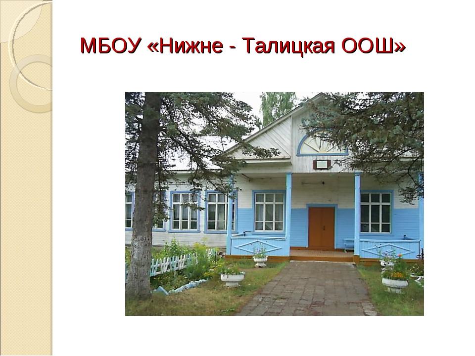 МБОУ «Нижне - Талицкая ООШ»