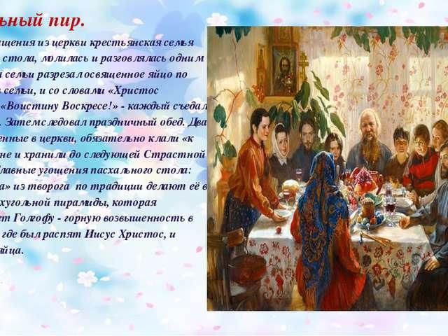Пасхальный пир. После возвращения из церкви крестьянская семья собиралась у с...