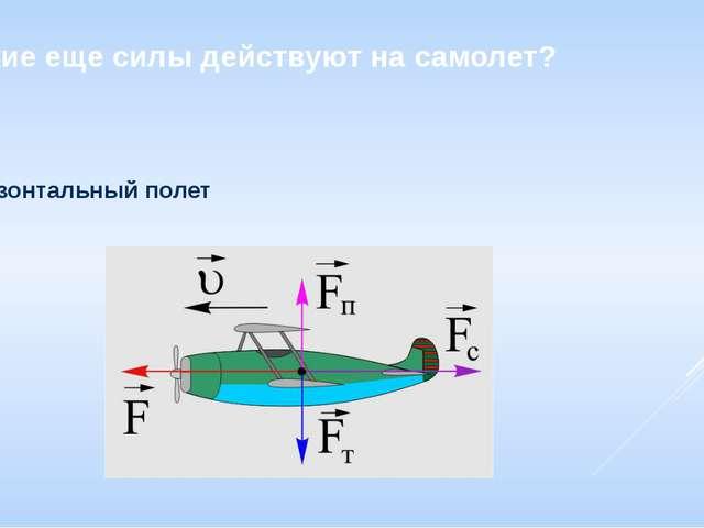 Какие еще силы действуют на самолет? Горизонтальный полет В полете самолет по...