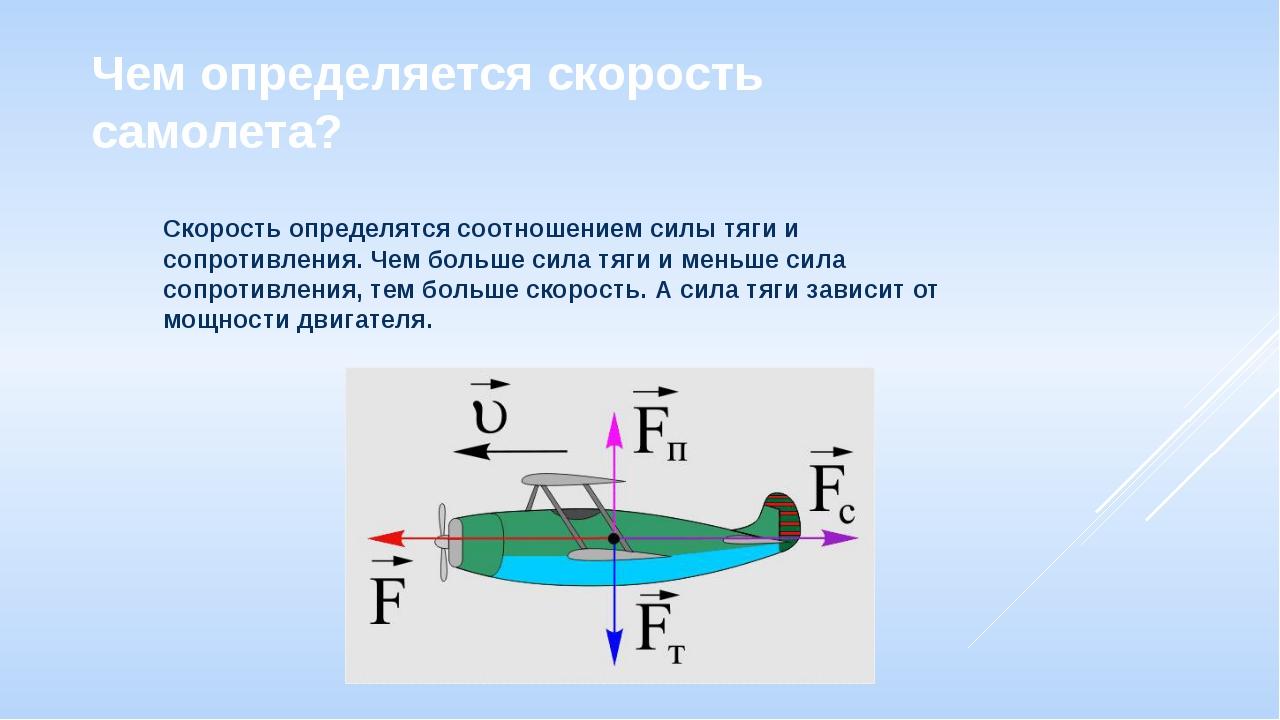 Чем определяется скорость самолета? Скорость определятся соотношением силы тя...