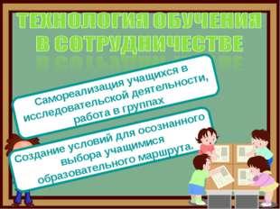 Самореализация учащихся в исследовательской деятельности, работа в группах Со