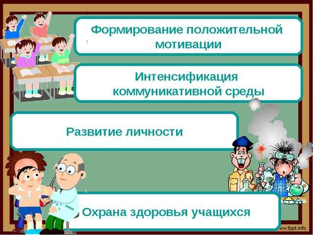 Формирование положительной мотивации Интенсификация коммуникативной среды Раз...