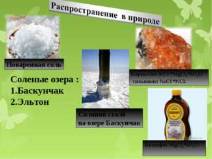 Поваренная соль Карналлит KCl *MgCl2*6Н2О сильвинит NaCl *KCl. Соленые озера