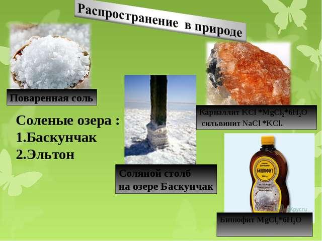 Поваренная соль Карналлит KCl *MgCl2*6Н2О сильвинит NaCl *KCl. Соленые озера...